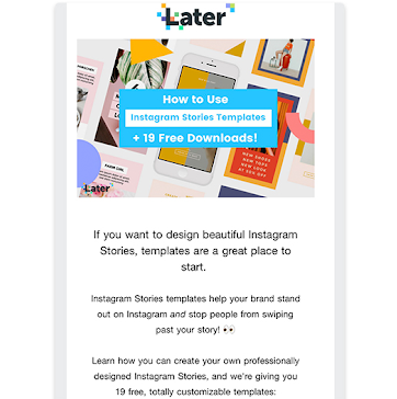 Content example from a newsletter by Later